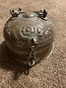 Antique Heavy Copper Spice Box W/ Containers And Plate Masala Container Tin Shelf