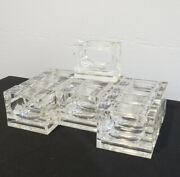 12 Vintage Mcm Lucite Acrylic Rectangle Napkin Rings Clear Thick Heavy