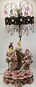 Vc Vintage Large Benrose Lamp Co. Victorian Statue Capodimonte Porcelain Italy