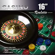 Casino 16-inch Roulette Wheel Game Set With 120 Chips Felt Layout And Rake