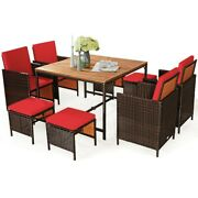 9 Pcs Patio Rattan Dining Cushioned Chairs Set 8 Seat Set And Table Pe Wicker