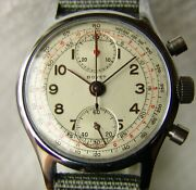 34 Mm Menand039s Wwii Era Chronograph Bovet Vintage Wristwatch Good Condition