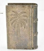 Antique Sterling Silver Mexico Book Motif Large Makeup Table Pill Box Palm Tree