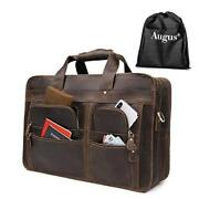 17 Inch Full Grain Leather Laptop Briefcases For Men Business Travel Brown