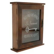Wall Mounted Wooden Key Cabinet With 6 Hooks For Easy Collection 21x6x25cm