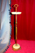 Luxury Vintage French Brass/bronze And Onix/alabaster Ashtray Stand 1960s 4 Sale