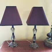 Vintage Brass And Smokey Lucite Table Lamps Pair Dresser 17.5and039and039 Shades Set 2