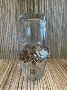 Arthur Court Pewter And Glass Bedside Water Pitcher Tumble Up Grape Pattern
