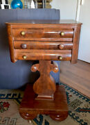Antique American Empire Flamed Mahogany Sewing Table/stand