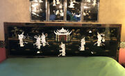Vintage Oriental Chinese King Headboard Top Mother Of Pearl Black Lacquer