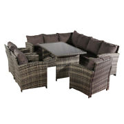 Oshion 9 Seat Rattan Furniture Outdoor Sofa Dining Table With Free Rain Cover