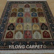 Yilong 6and039x8.5and039 Handknotted Silk Area Rugs Four Season Home Luxury Carpet 0818