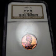 1955 Pf64 Rb Lincoln Wheat Cent 1c Proof Ngc Graded Pr64 Berry Color Toning
