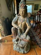 Antique Wood Guanyin/bodhisattva, Gesso And Polychrome Paint, China, 18th-19th C.