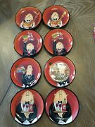 Set Of 8 Waiters Certified International Tracy Flickinger Appetizer Plates 5andrdquo