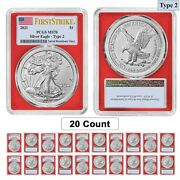 Lot Of 20 - 2021 1 Oz Silver American Eagle Type 2 Pcgs Ms 70 Fs Red Frame
