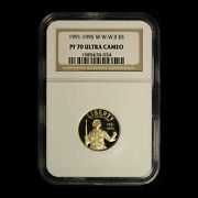 1991-1995 W 5 Wwii Commemorative Gold Coin Ngc Pf70 Ucam - Free Ship Us