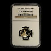 1997-w 5 F.d. Roosevelt Commemorative Gold Coin Ngc Pf70 Ucam - Free Ship Us