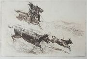 Edward Borein Etching And Drypoint On Paper And039the Maverickand039 Cowboy Genre