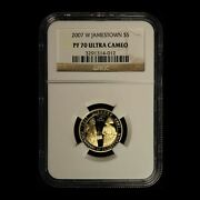 2007-w 5 Jamestown Commemorative Gold Coin Ngc Pf70 Ucam - Free Shipping Usa