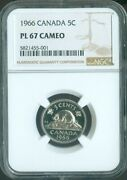 1966 Canada Five Cent Nickel Ngc Pl 67 Cameo Quality✔️