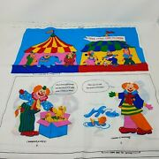 Here Come The Clowns Soft Cloth Book Cut And Sew Fabric Panel Vintage 1990s Infant