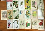 Lot Of 19 Antique Christmas Postcards Holiday Christmas Birthday Greeting Card