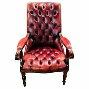 Classic English Chesterfield Leather Chair Oxblood/burgundy