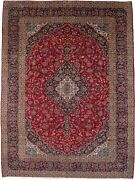 Semi Antique Red Traditional Floral Design 10x13 Oriental Rug Home Wool Carpet
