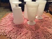 5 Vintage Colony White Milk Glass Harvest Grape Footed Goblets Tumblers.
