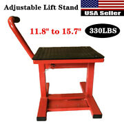 330lbs Adjustable 11.8 -15.7 Steel Lift Table Stand For Motorcycle Repair Red