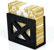 Nikoc Rustic Black Napkin Holder Solid Wood For Kitchen Table And Countertops
