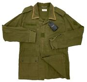 2500 Saint Laurent Olive Cotton Jacket Size Large Eu 52 Made In Italy