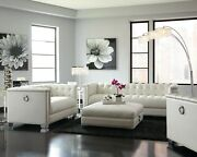 Contemporary Pearl White Leatherette Sofa And Love Seat Living Room Furniture Set