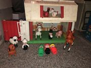 Vintage1986 Fisher Price Little People Family Farm Barn And Animals Moos