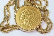 1915 Indian Head 5 Gold Piece Necklace 20 14k Rope Chain