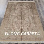 Yilong 5and039x7.5and039 Handknotted Oriental Silk Carpet Beige Living Room Area Rug Z65a