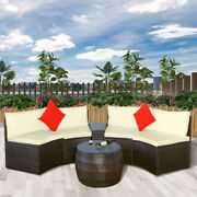 Us 4pcs Patio Furniture Sets Outdoor Half-moon Sectional Furniture Wicker Sofa