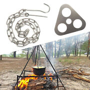 Camping Tripod Grill Campfire Cooking Equipment Ring Hook For Outdoor Picnic