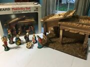 Vintage Sears Nativity Set 7 Figures Wood Stable Made In Italy 97581 W/box
