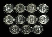 Mixed Date Lot Of 11 Franklin Silver Half Dollars In Capsules - Free Ship Us