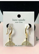 New Kate Spade Whale Tail Pave Drop Dangle Earrings Gold Plated Sparkle Cz