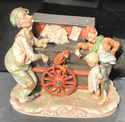 Capodimonte Italy Puccy Organ Grinder Figurine Pipe In Mans Hand Broken Off