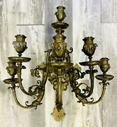 Vintage Victorian Very Large Heavy Bronze Candelabra Dolphins 22 Inches Tall