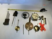 Lot Of Antique Clock Parts- Gongs/chimes, Anniversary, Pendulum, More
