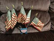 Rare Antique Vintage Metal Flag Holder Bicycle Motorcycle Car Hot Rod 5 Flags