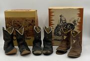 3 Antique Vintage Acme And Cowpuncher Child Cowboy Boots Western Collectible