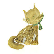 Vintage Large Textured 18k Gold .12ct Diamond Enamel Squinting Cat W/ Bow Brooch