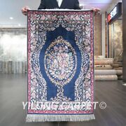 Yilong 2and039x3and039 Handwoven Silk Carpet Flower Tapestry Luxury Villa Area Rug Z525a