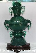 13china Natural Green Agate Onyx Carving Hollow Incense Burner Censer Incensory